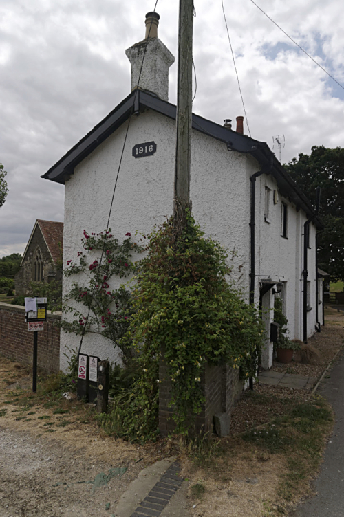Lock keeper's cottage and old church  Grove