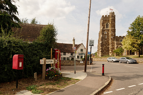 Flitton book exchange and church