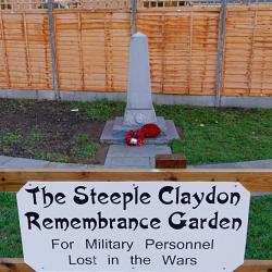 The war memorial in Steeple Claydon Memorial Garden