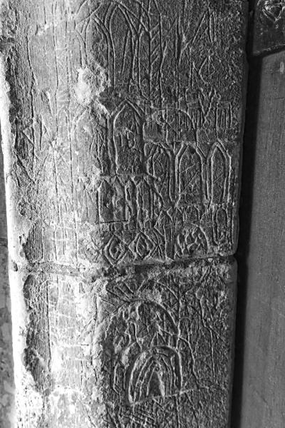 Graffiti carved dooway  Great Brickhill church