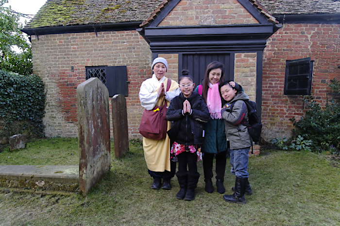 Japanese visitors at Keach's Meeting House  Winslow