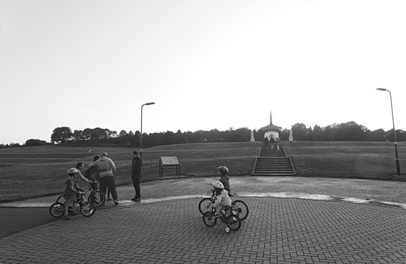 The Peace Pagoda with bicycles