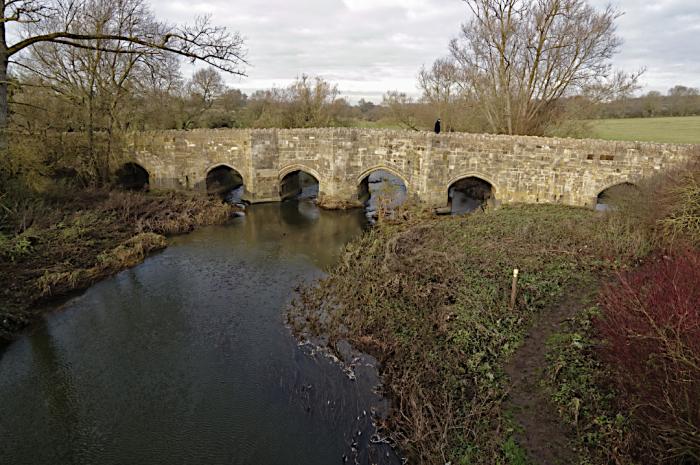 Six arches of Thornborough Bridge