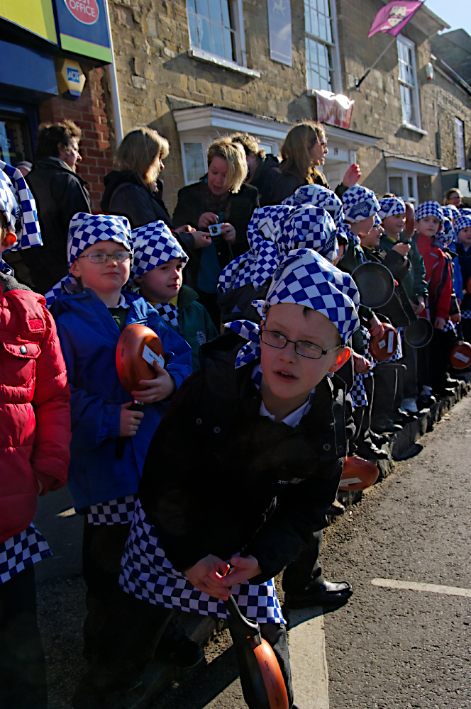 Waiting for the pancake race